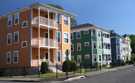 Row of triple-decker houses