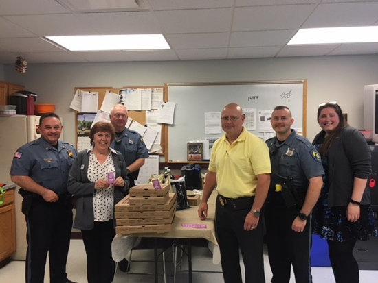 UniBank employees providing lunch to Police Department in Uxbridge
